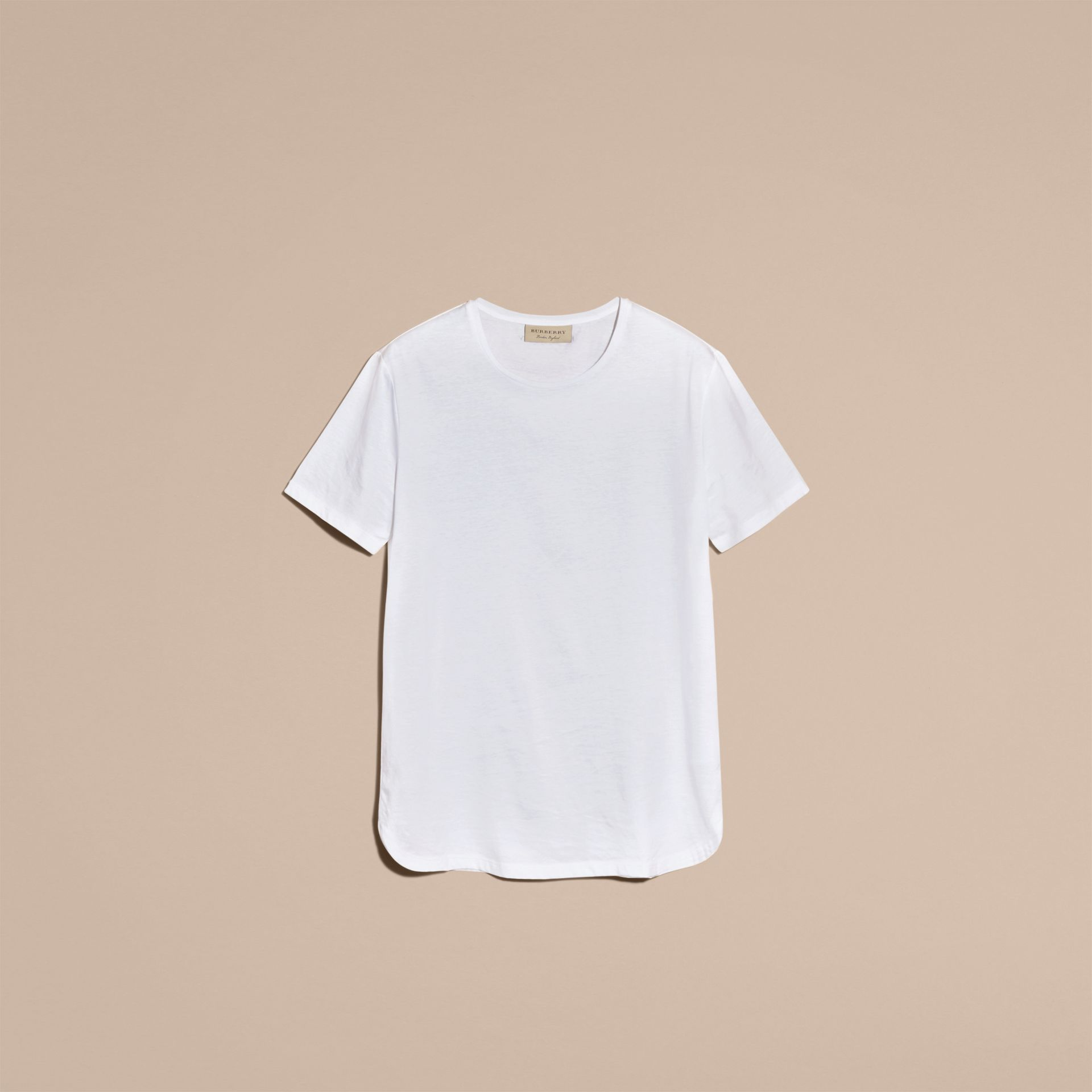 Crew Neck Cotton T-shirt in White - Men | Burberry - gallery image 4