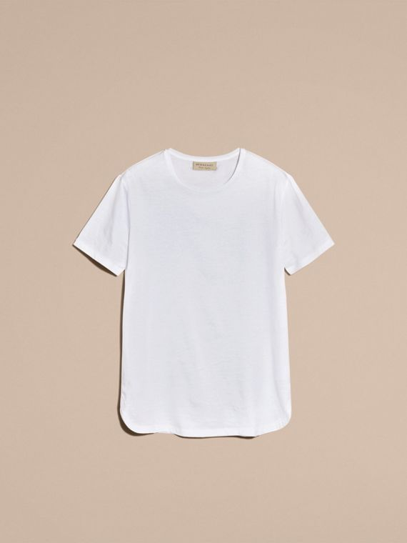 Crew Neck Cotton T-shirt in White - Men | Burberry - cell image 3