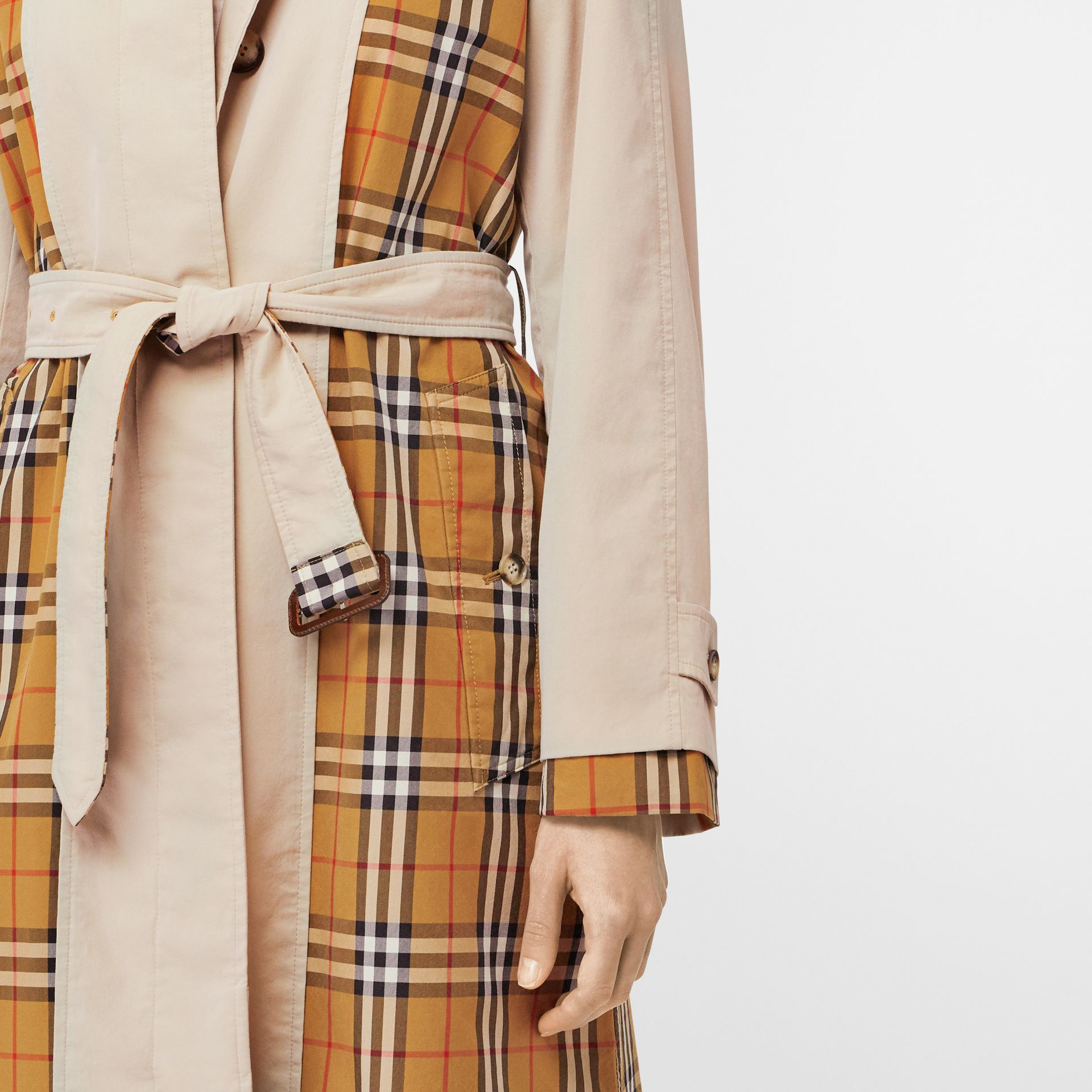 Vintage Check and Tropical Gabardine Car Coat in Stone - Women | Burberry United States - gallery image 4