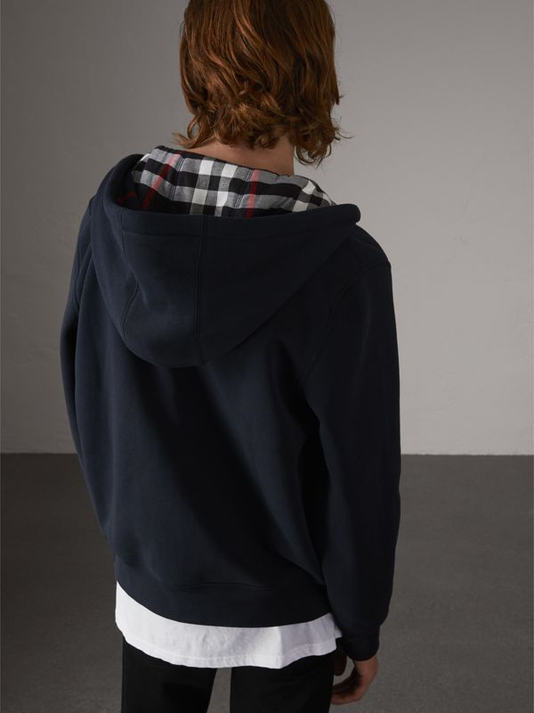 Check Detail Jersey Hooded Top in Navy - Men | Burberry - cell image 2