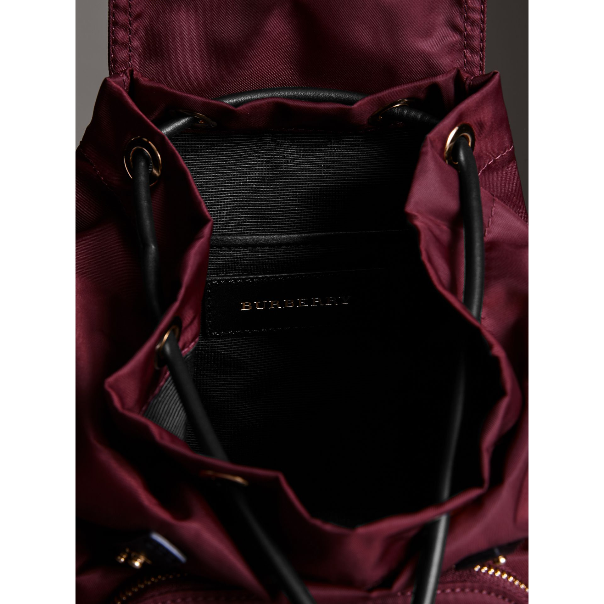 The Small Crossbody Rucksack in Nylon in Burgundy Red - Women | Burberry - gallery image 5