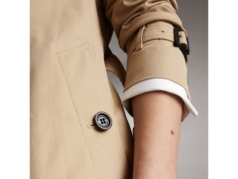 Long Cotton Gabardine Trench Coat in Honey - Women | Burberry - cell image 1