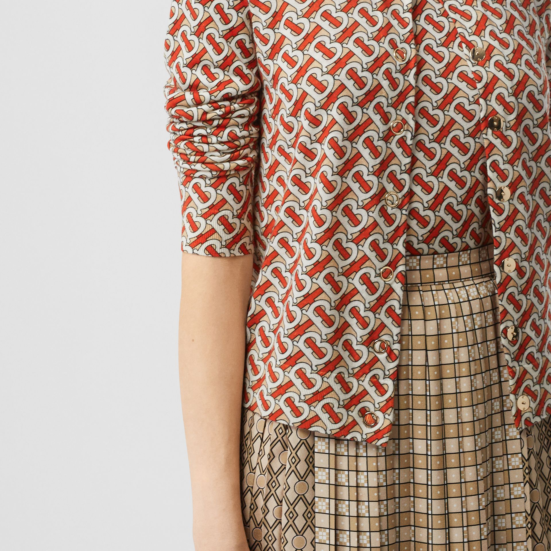 Monogram Print Merino Wool Cardigan in Vermillion - Women | Burberry - gallery image 4