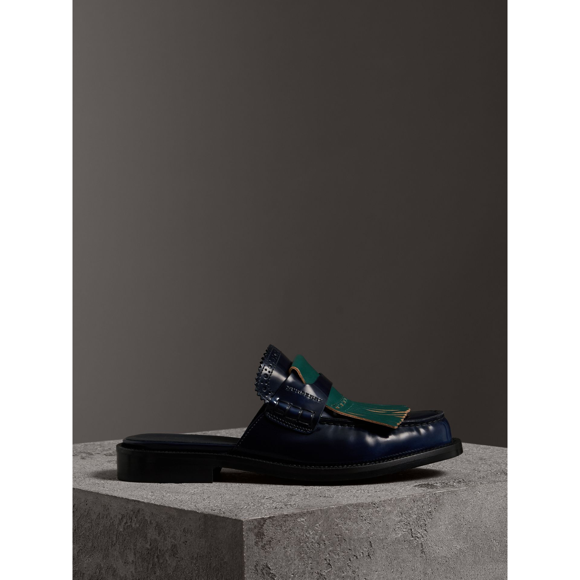 Contrast Kiltie Fringe Leather Mules in Navy - Women | Burberry Canada - gallery image 4