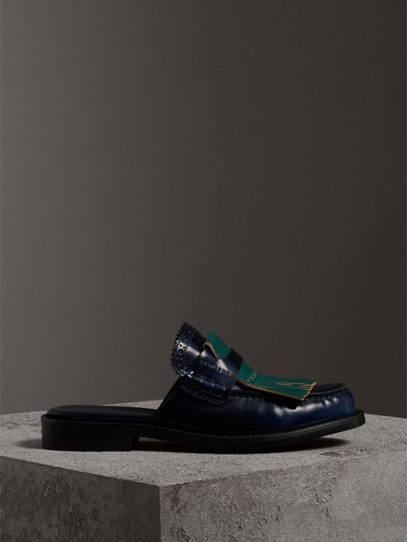 Contrast Kiltie Fringe Leather Mules in Navy