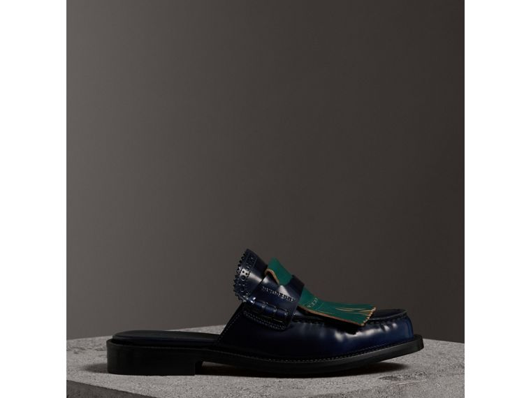 Contrast Kiltie Fringe Leather Mules in Navy - Women | Burberry - cell image 4