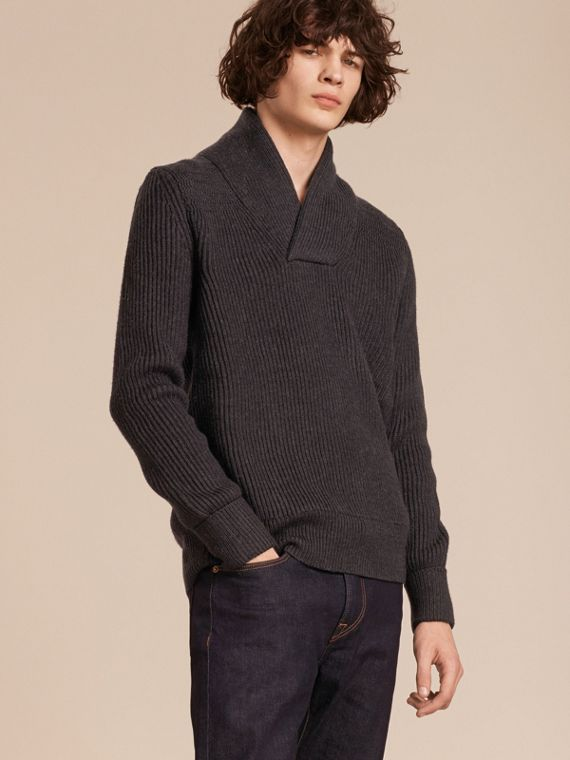 Shawl Collar Ribbed Wool Silk Sweater