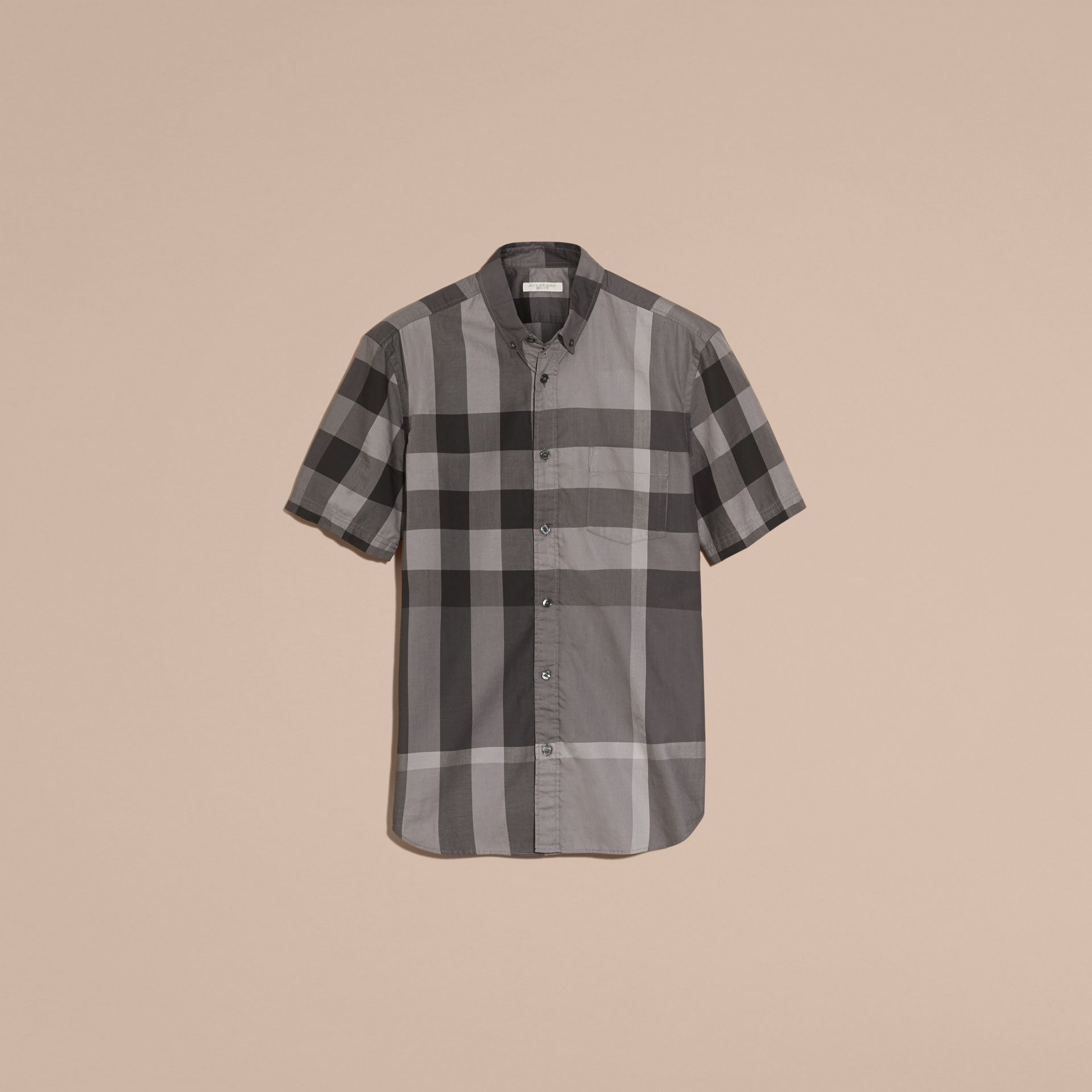 Charcoal Short-sleeved Check Cotton Shirt Charcoal - gallery image 4
