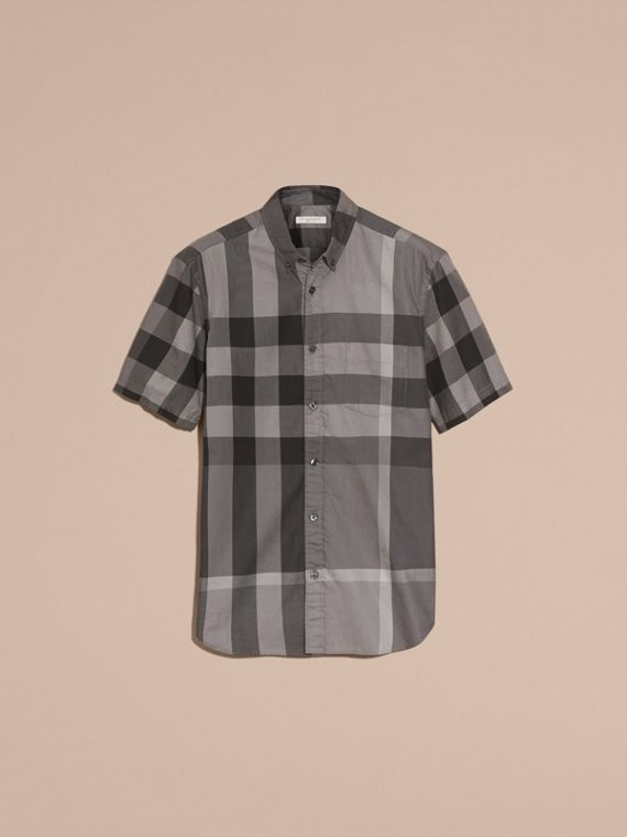 Charcoal Short-sleeved Check Cotton Shirt Charcoal - cell image 3