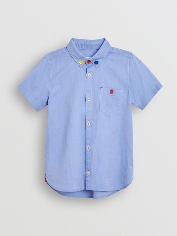 Camicetta Oxford in cotone con maniche corte e colletto button-down (Fiordaliso)