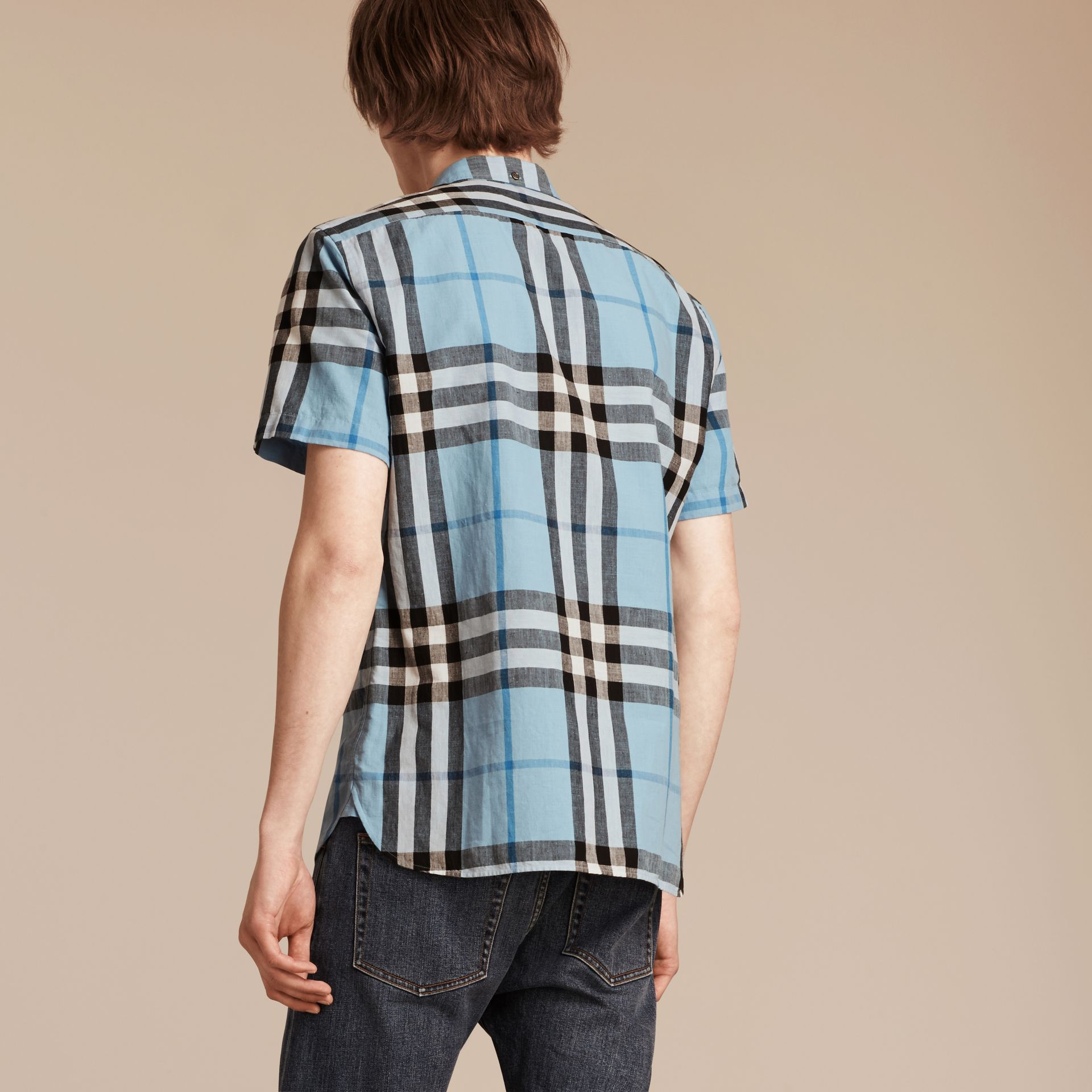 Short-sleeved Check Linen Cotton Shirt in Pale Blue - gallery image 2