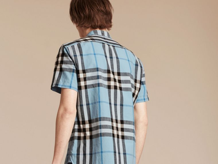 Short-sleeved Check Linen Cotton Shirt in Pale Blue - cell image 1