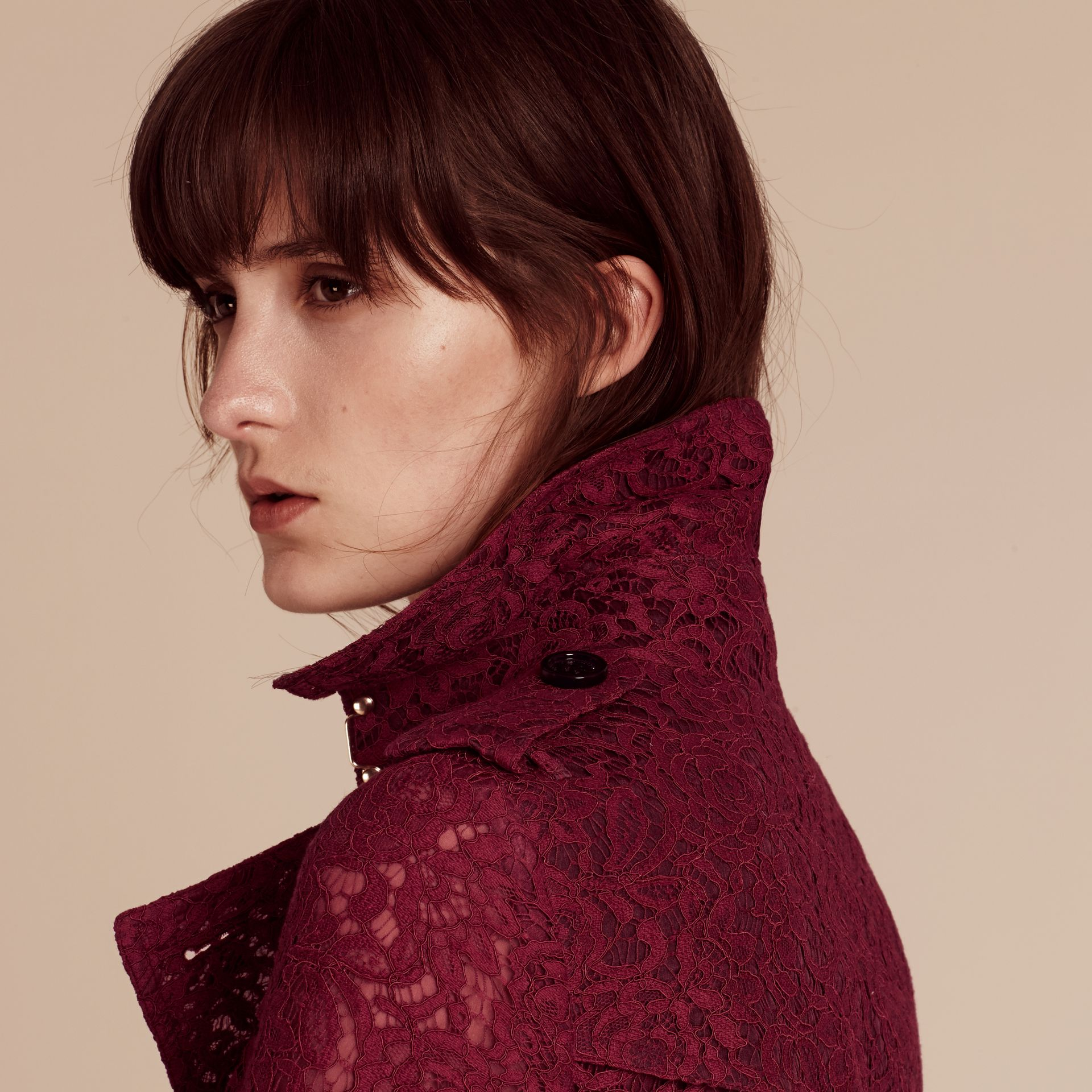 Dark crimson Italian Lace Scallop-hem Trench Coat - gallery image 5