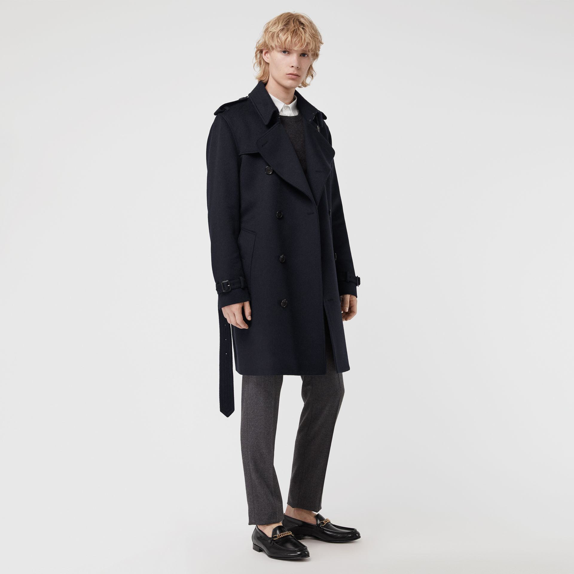 Cashmere Trench Coat in Navy - Men | Burberry Hong Kong - gallery image 0