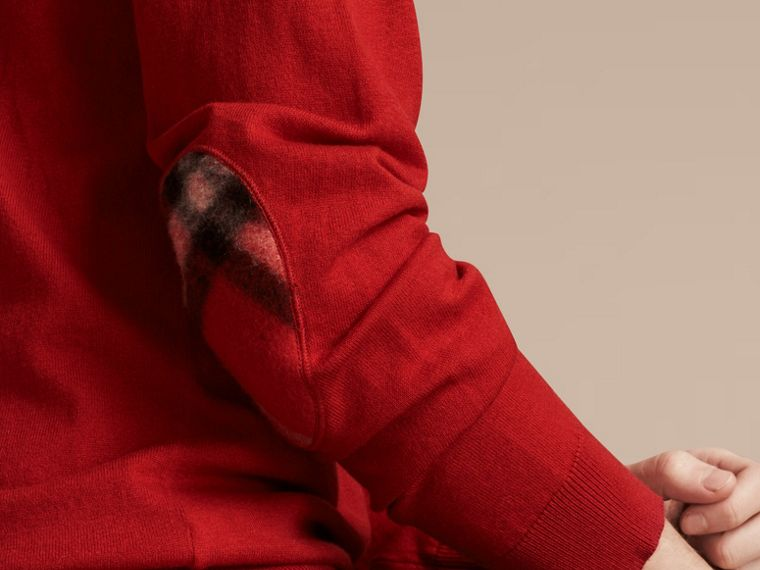 Check Trim Cashmere Cotton Sweater Military Red - cell image 4