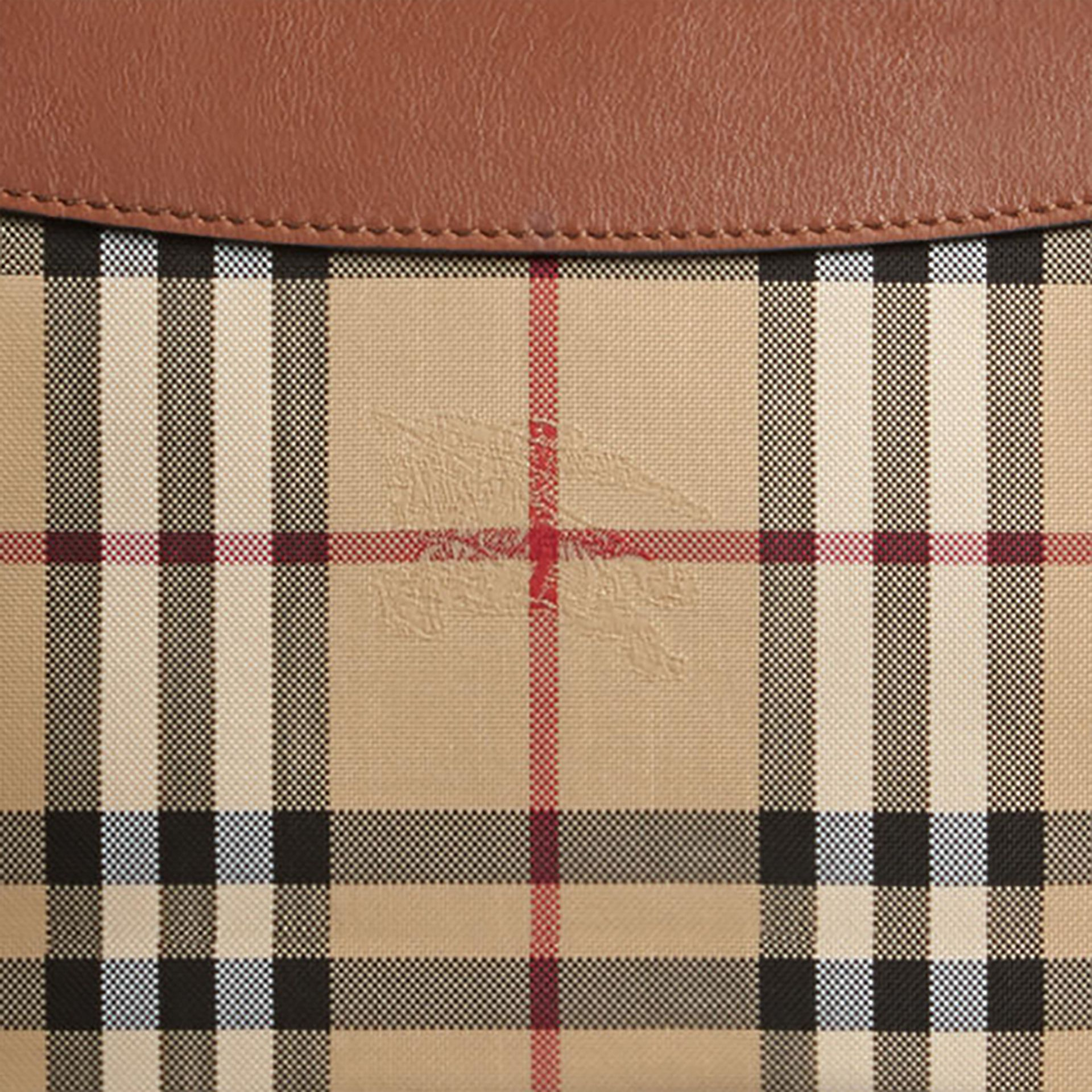Horseferry Check and Leather Clutch Bag in Tan - Women | Burberry Singapore - gallery image 2