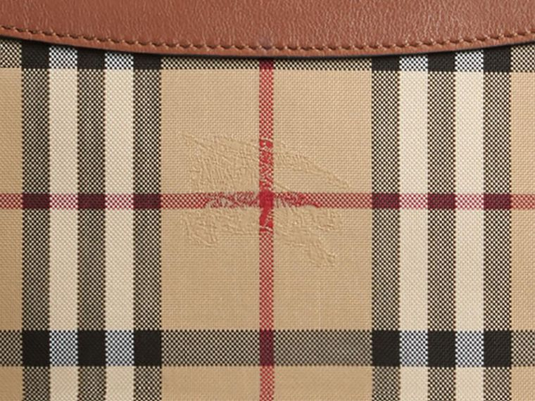 Horseferry Check and Leather Clutch Bag in Tan - Women | Burberry - cell image 1