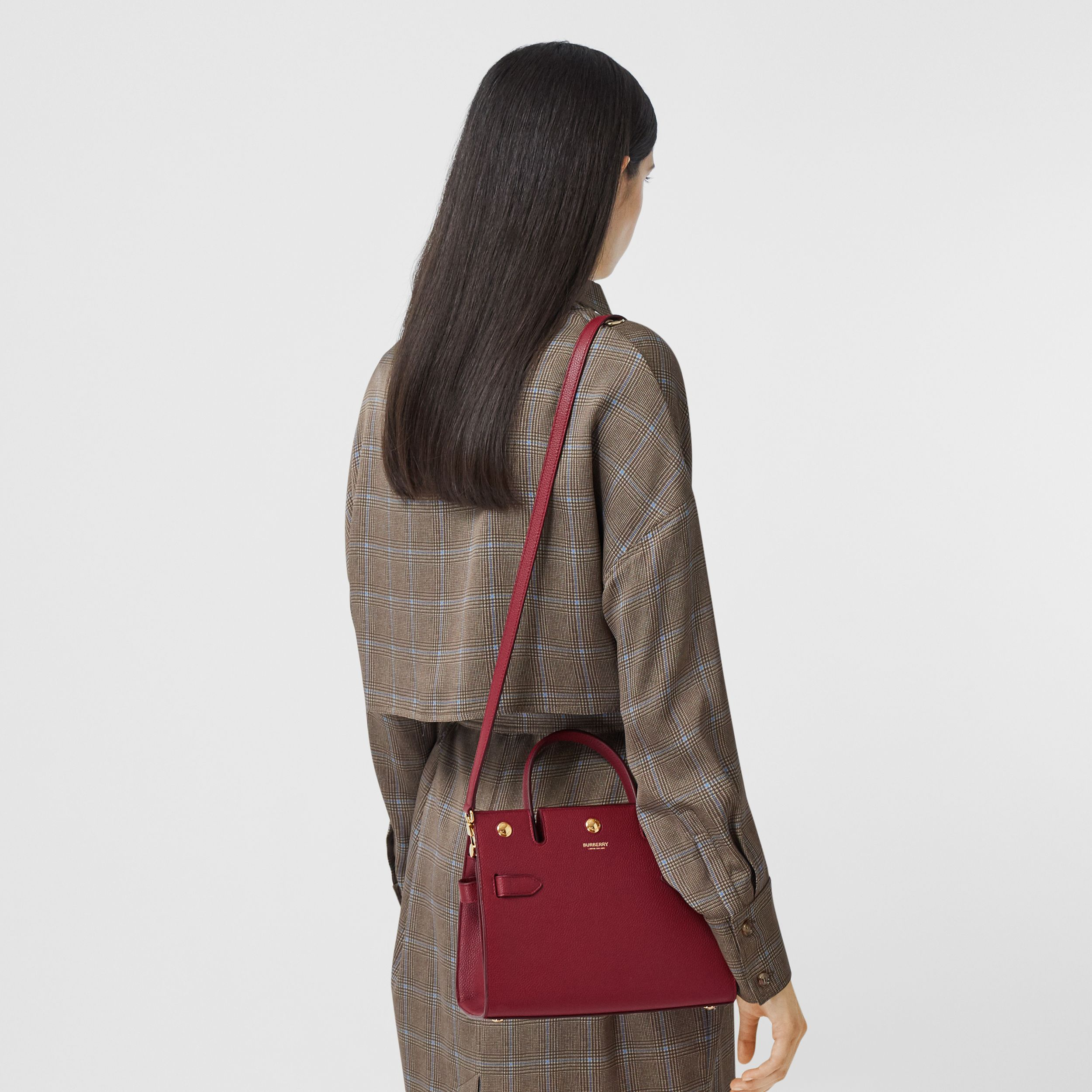 Mini Leather Title Bag in Dark Crimson - Women | Burberry - 3
