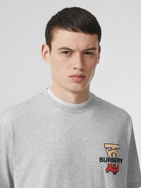Monogram Motif Cotton Oversized T-shirt in Pale Grey Melange - Men | Burberry United Kingdom - cell image 1