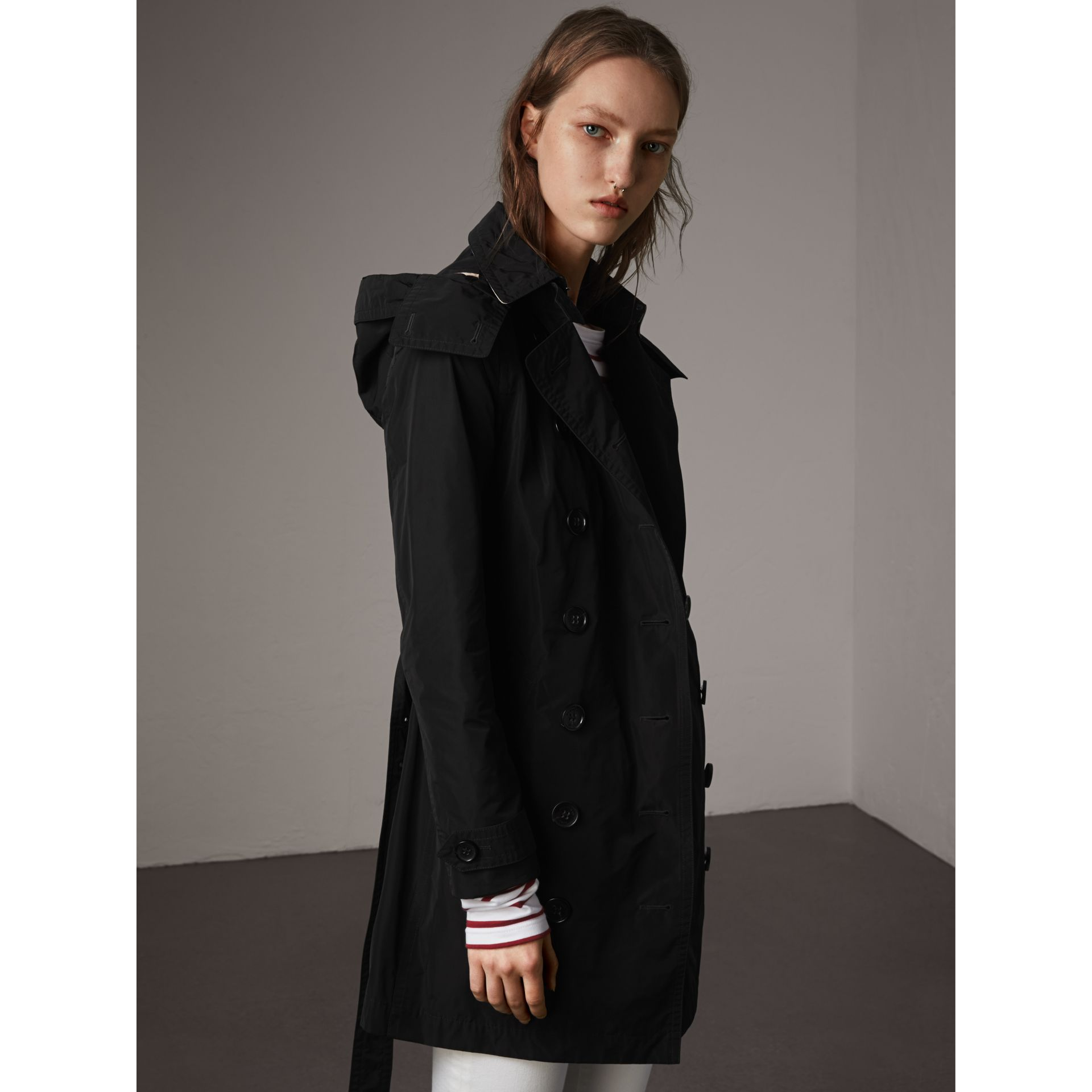 Taffeta Trench Coat with Detachable Hood in Black - gallery image 1