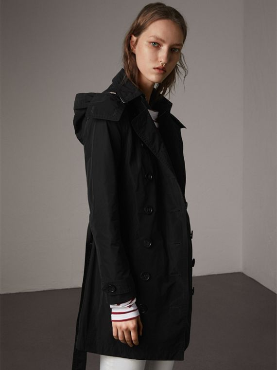 Taffeta Trench Coat with Detachable Hood in Black - Women | Burberry Singapore