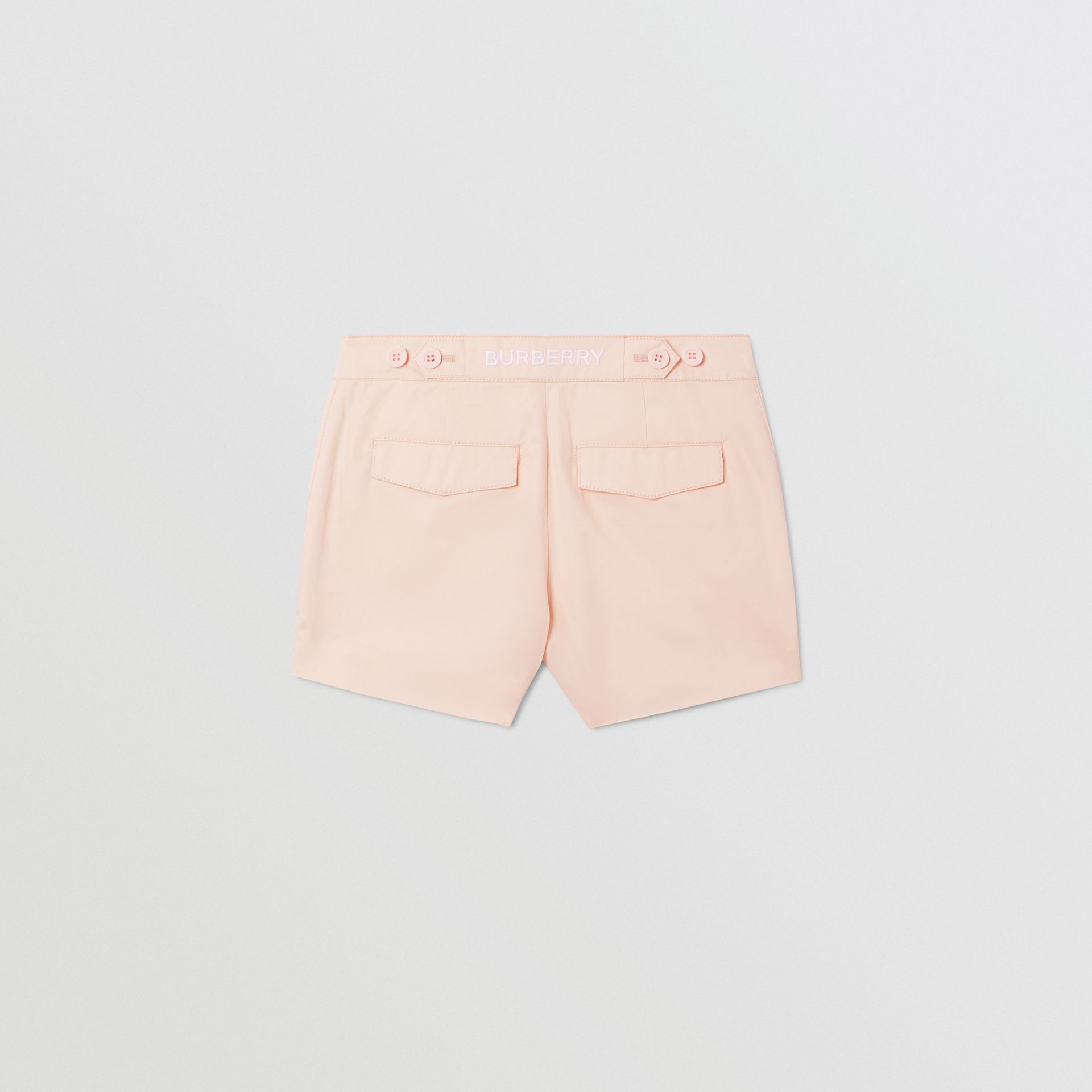 Embroidered Logo Cotton Shorts in Soft Pink   Burberry Australia - gallery image 3