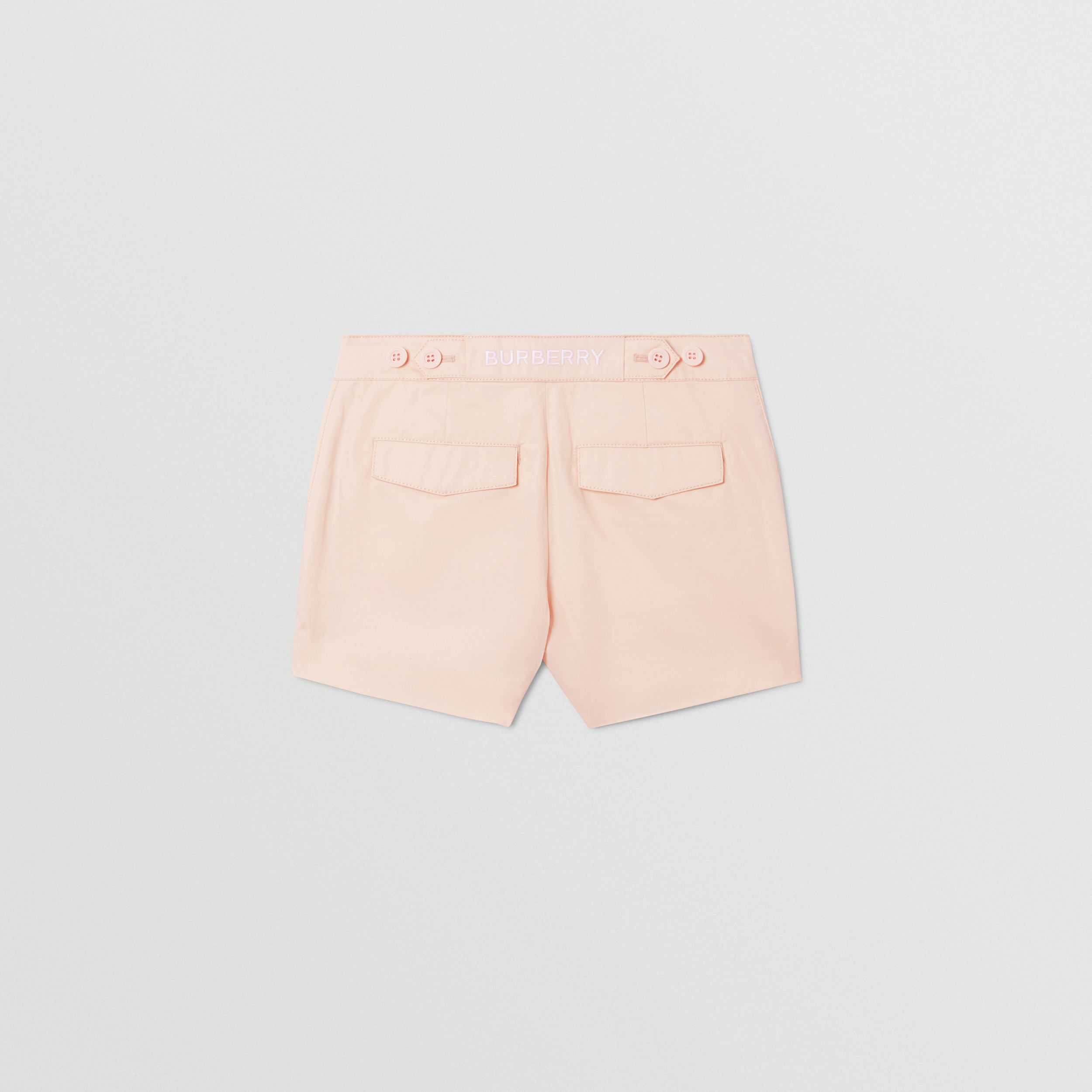 Embroidered Logo Cotton Shorts in Soft Pink | Burberry - 4