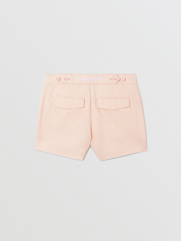 Embroidered Logo Cotton Shorts in Soft Pink   Burberry Australia - cell image 3