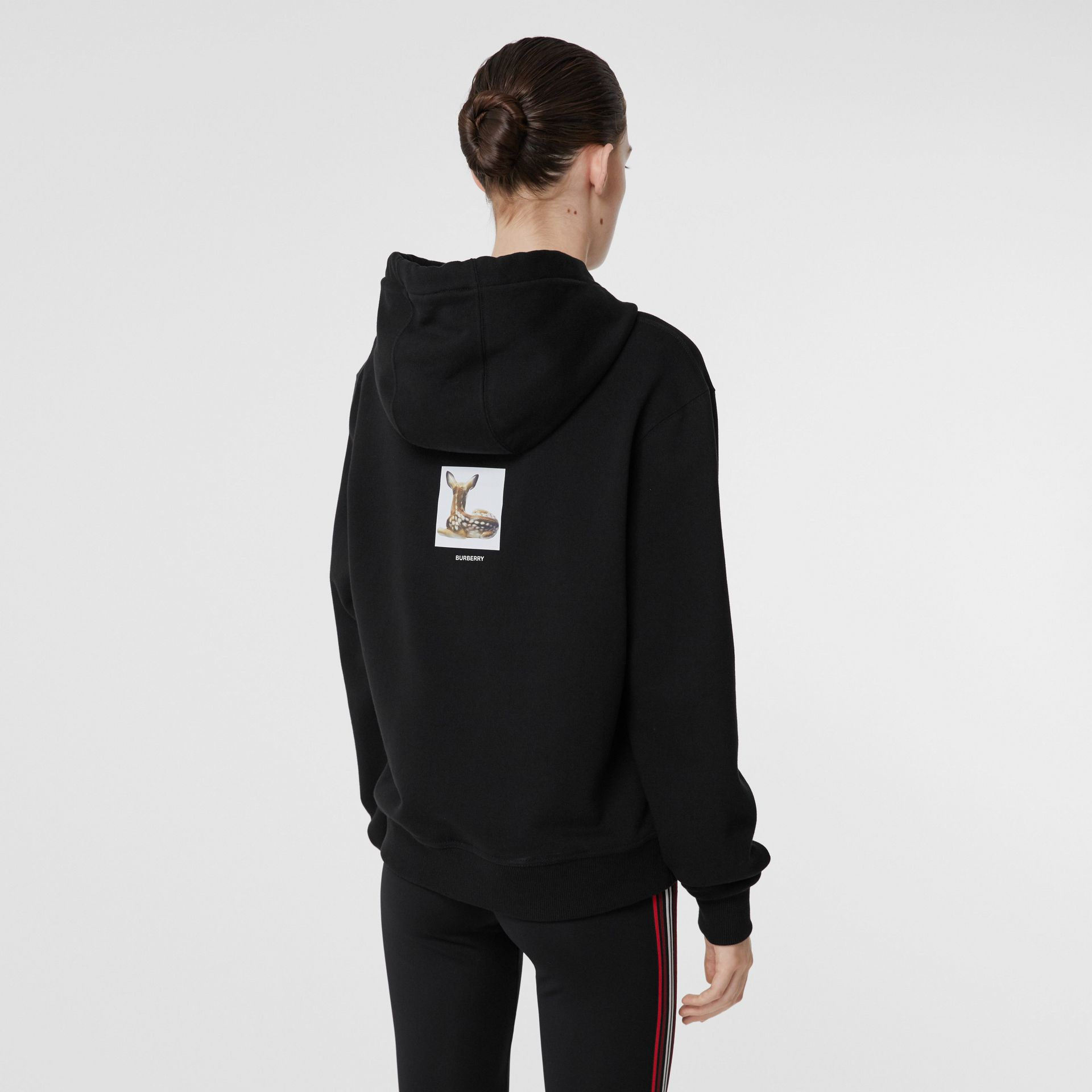 Deer Print Cotton Oversized Hoodie in Black - Women | Burberry - gallery image 2