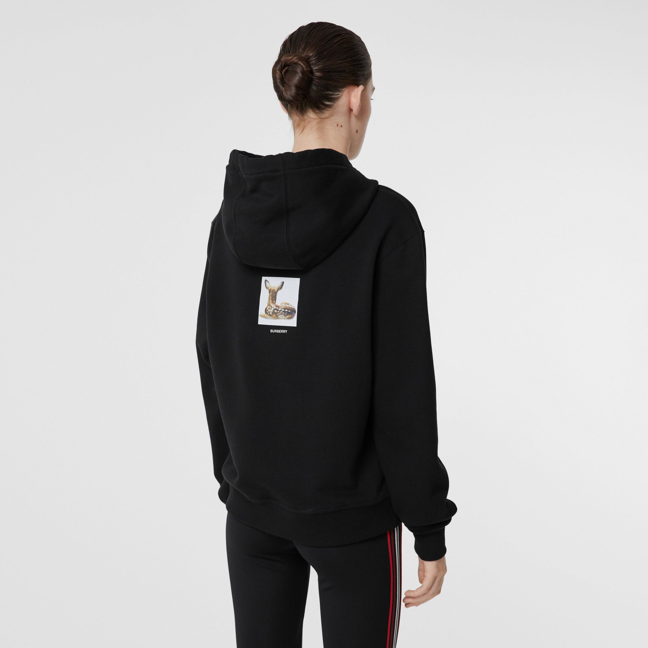 Deer Print Cotton Oversized Hoodie in Black - Women | Burberry Canada - 3