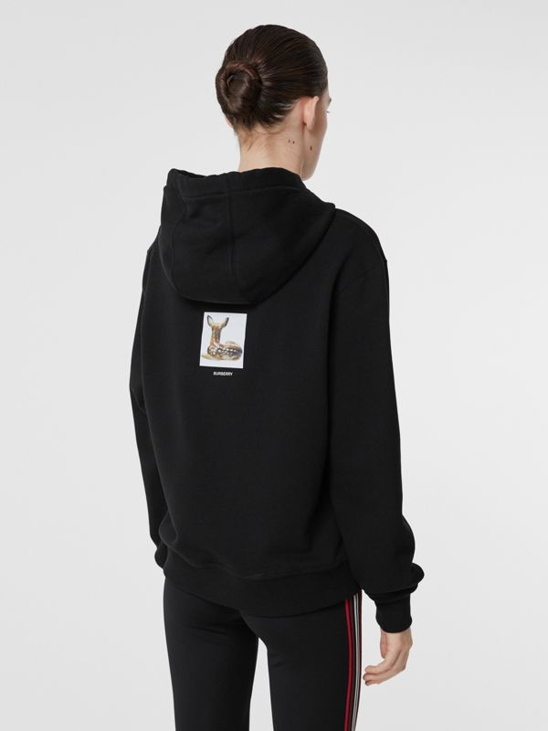 Deer Print Cotton Oversized Hoodie in Black - Women | Burberry - cell image 2