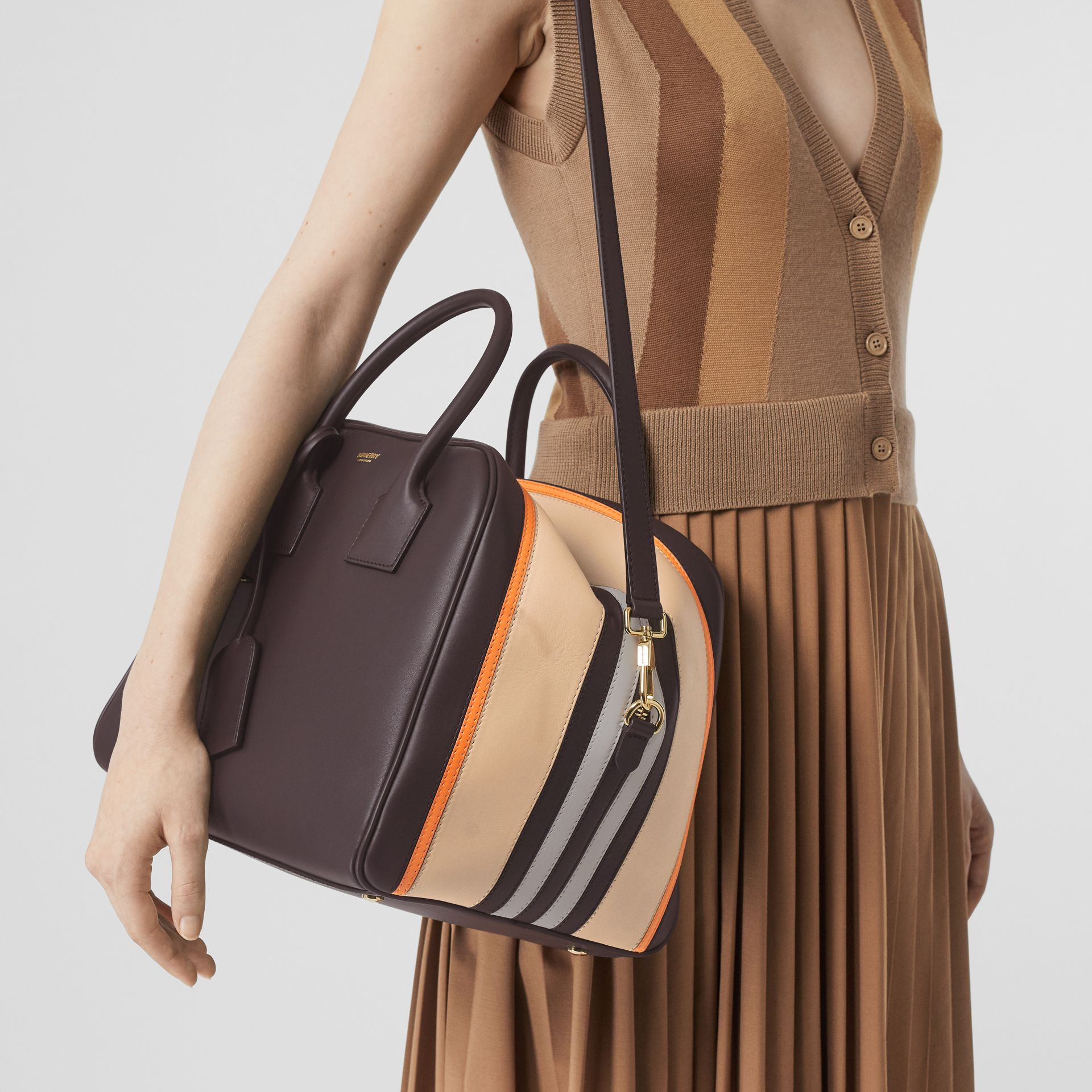 Medium Stripe Intarsia Leather Cube Bag in Coffee/pumpkin - Women | Burberry - gallery image 2