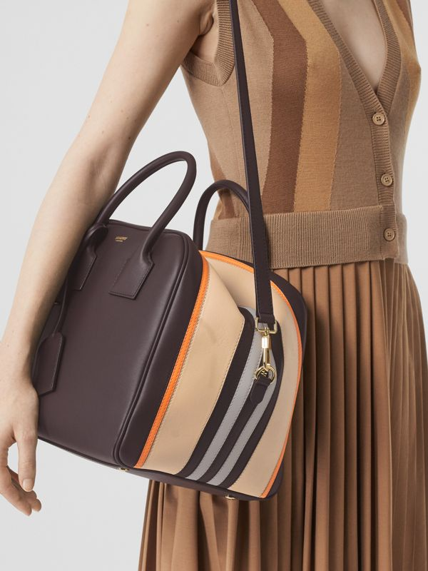 Medium Stripe Intarsia Leather Cube Bag in Coffee/pumpkin - Women | Burberry - cell image 2