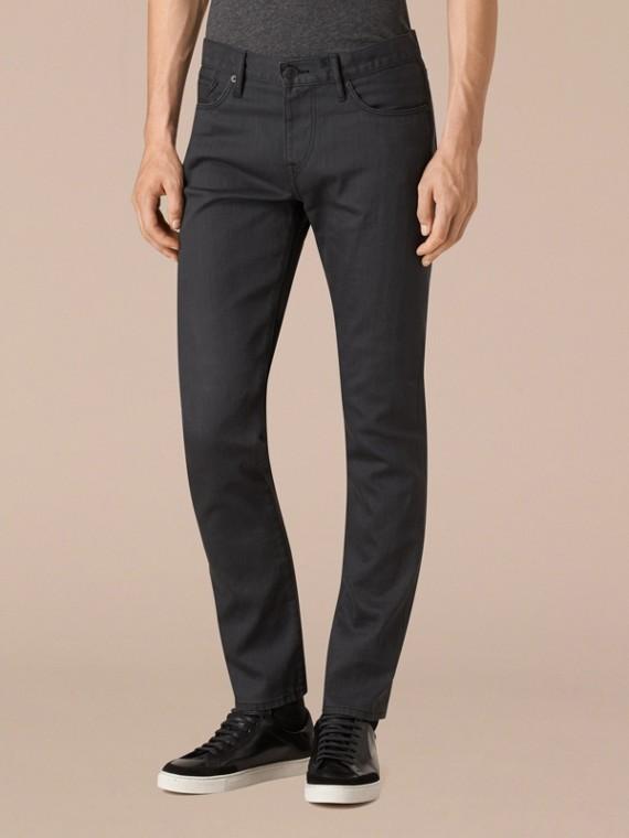 Cinza tempestade Calças jeans de ourela japonesa com corte slim - cell image 3