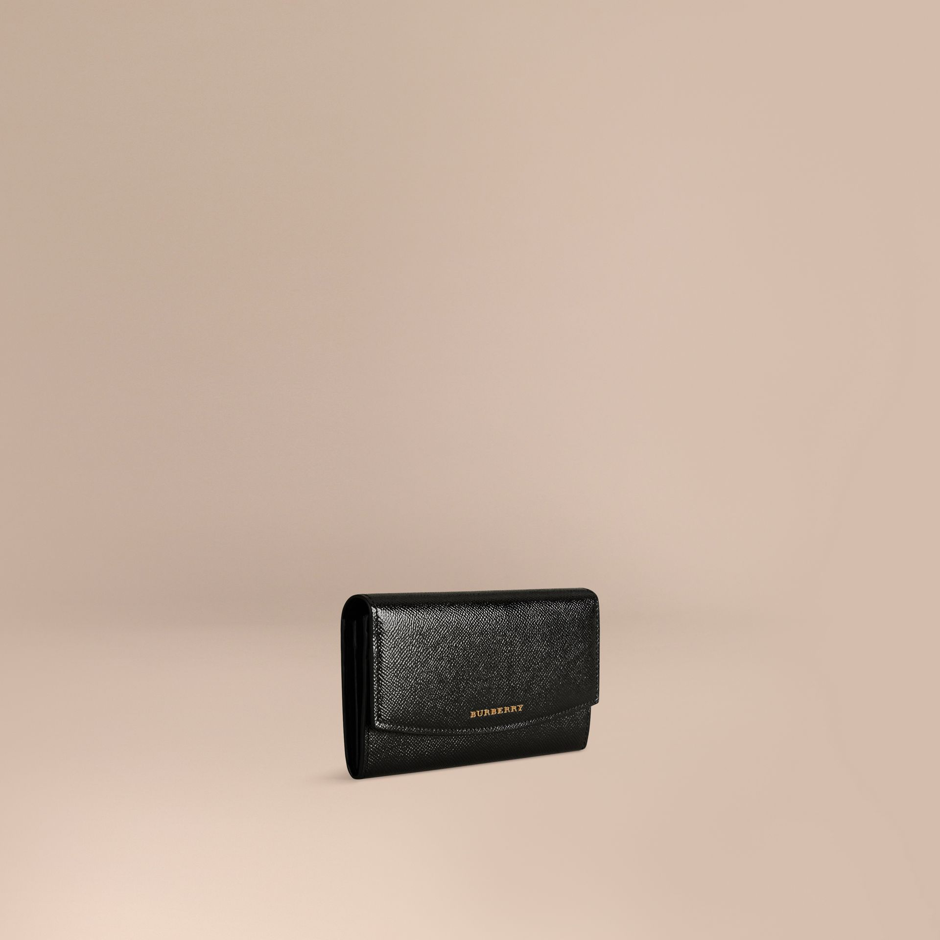 Black Patent London Leather Continental Wallet Black - gallery image 1