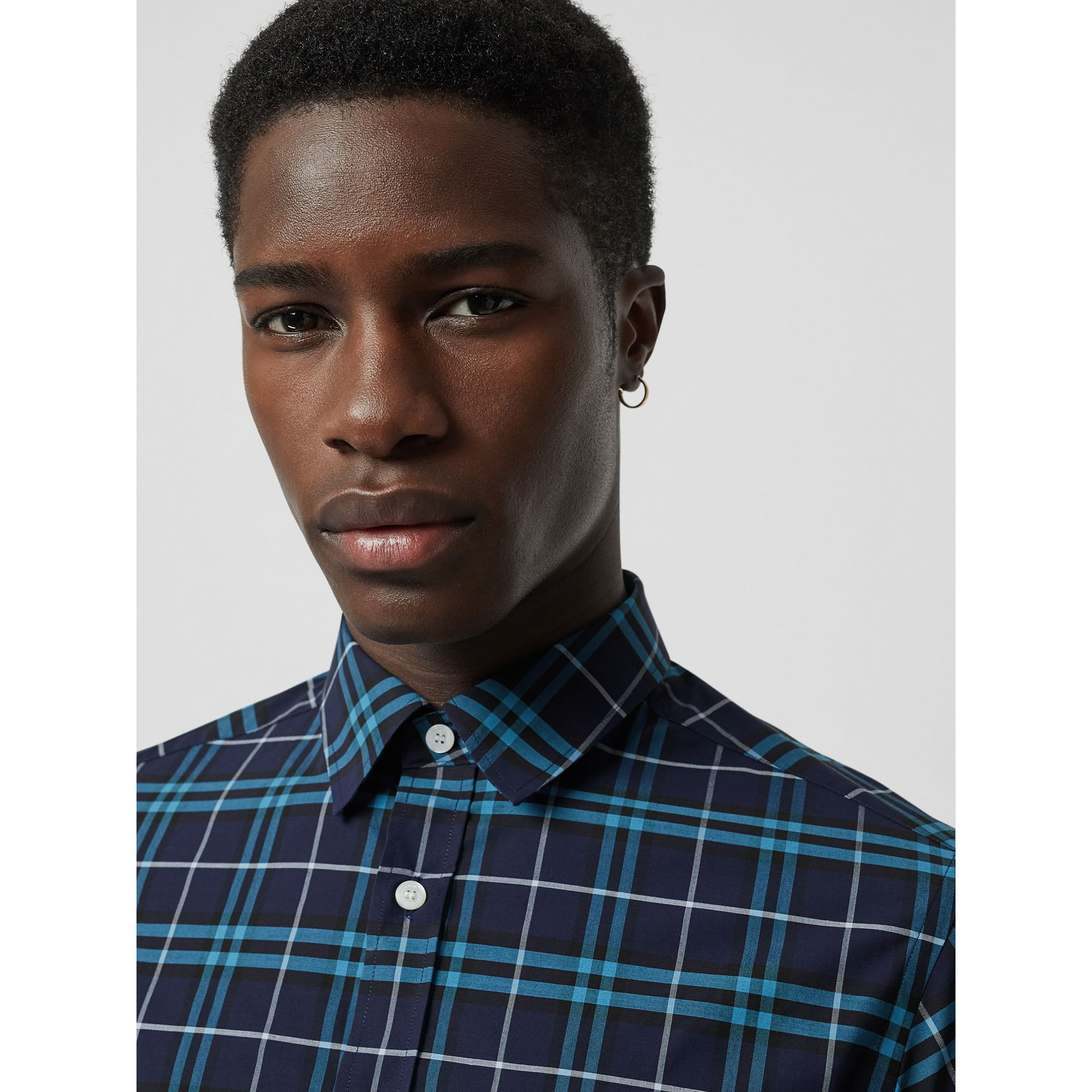 Check Stretch Cotton Shirt in Bright Navy - Men | Burberry Canada - gallery image 1