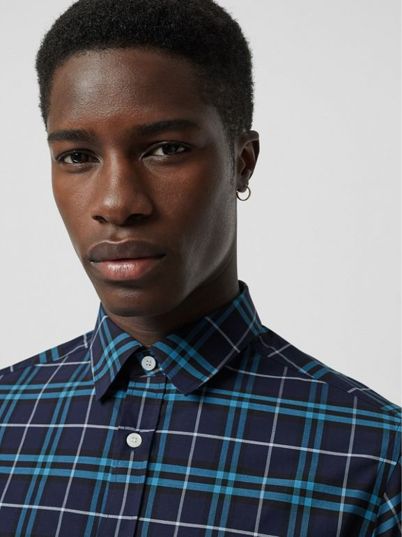 Check Stretch Cotton Shirt in Bright Navy - Men | Burberry - cell image 1