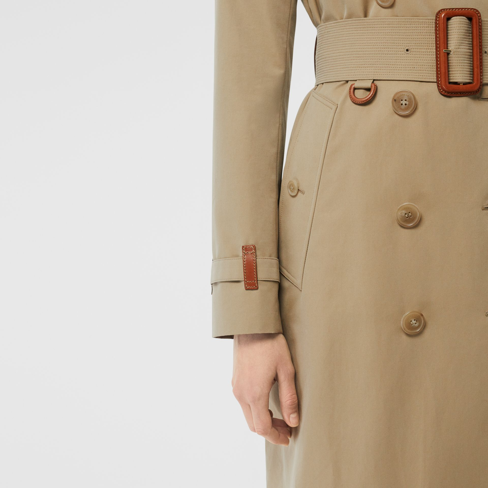 Leather Detail Cotton Gabardine Trench Coat in Honey - Women | Burberry Australia - gallery image 4