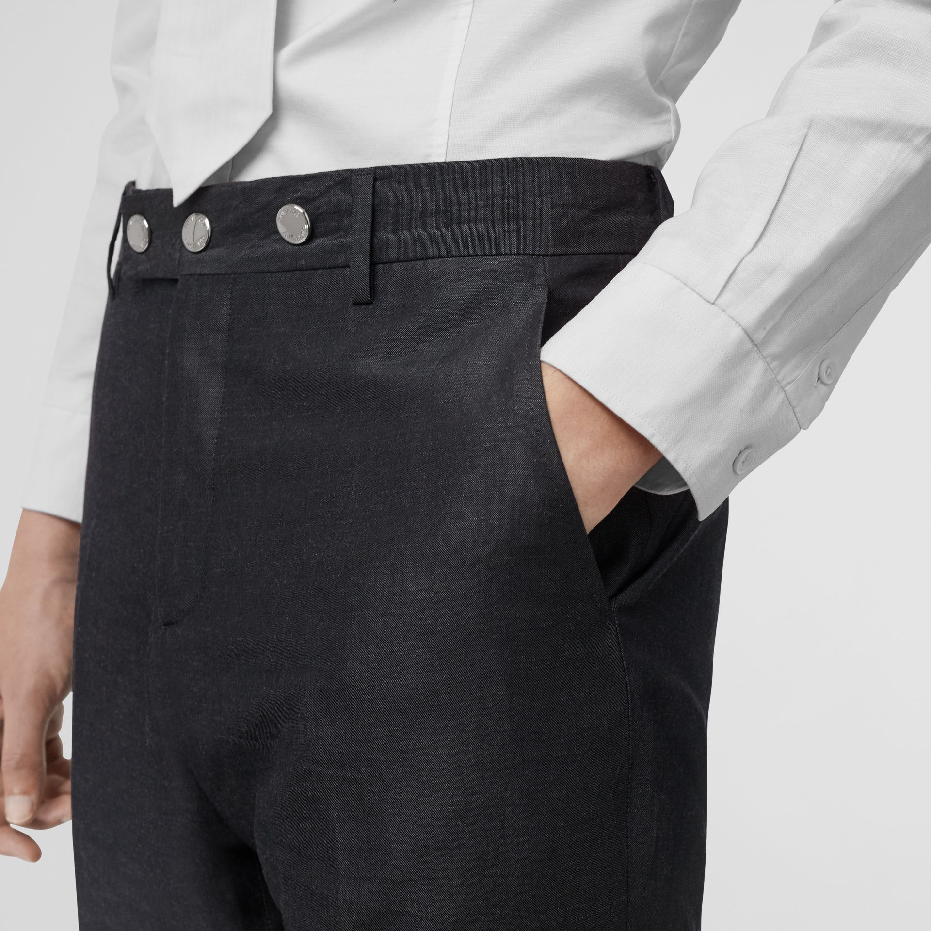 Classic Fit Triple Stud Silk Linen Tailored Trousers in Silver Grey | Burberry United Kingdom - gallery image 1