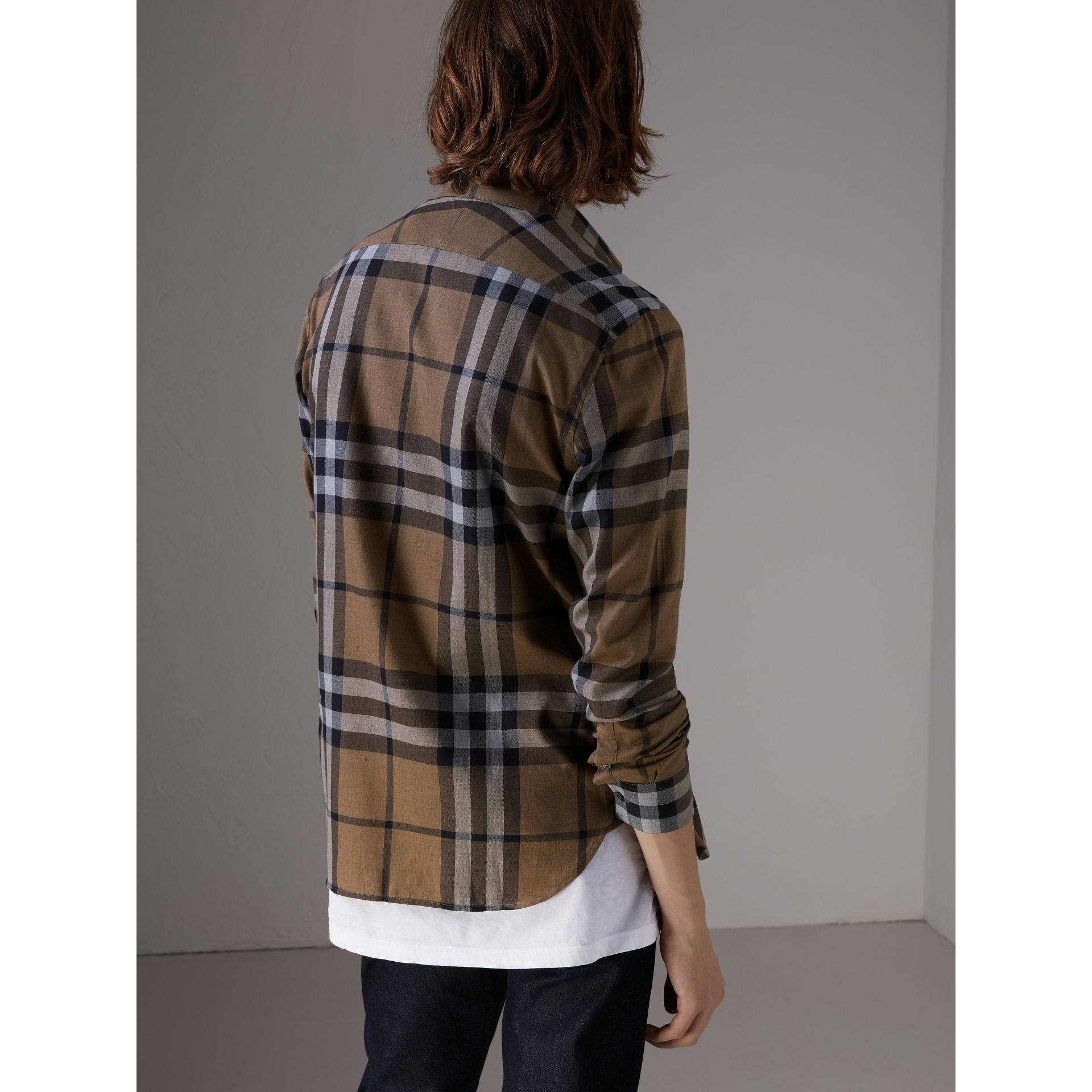 Check Cotton Cashmere Flannel Shirt in Walnut - Men | Burberry Singapore - gallery image 2