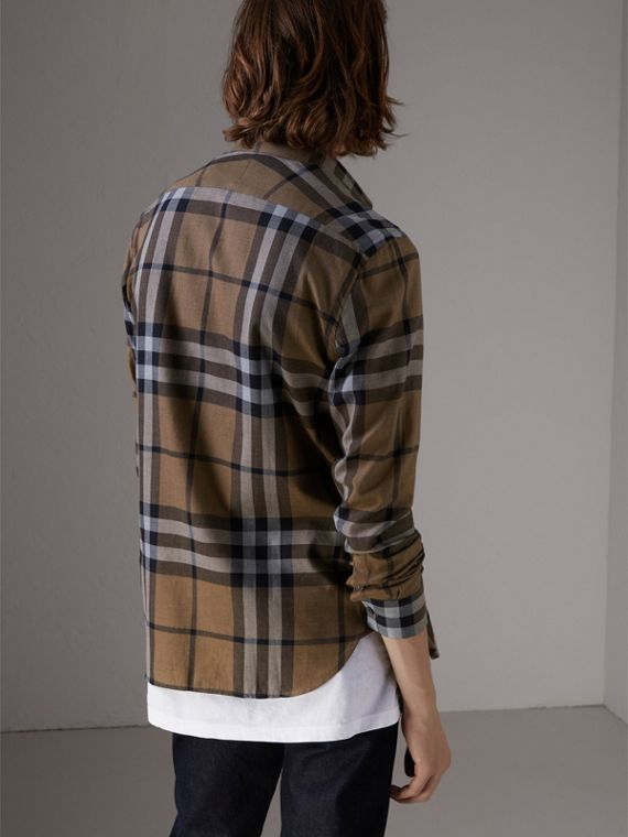 Check Cotton Cashmere Flannel Shirt in Walnut - Men | Burberry Singapore - cell image 2