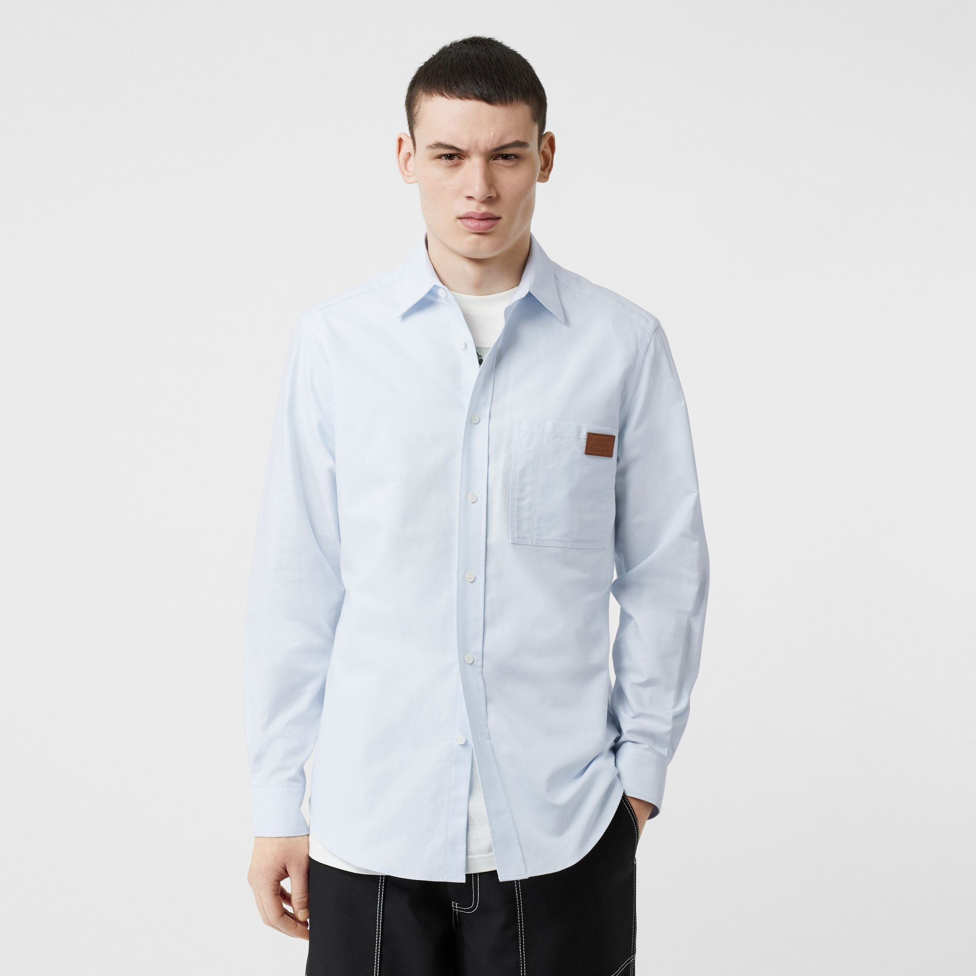 Logo Detail Cotton Oxford Shirt in Sky Blue - Men | Burberry - gallery image 0
