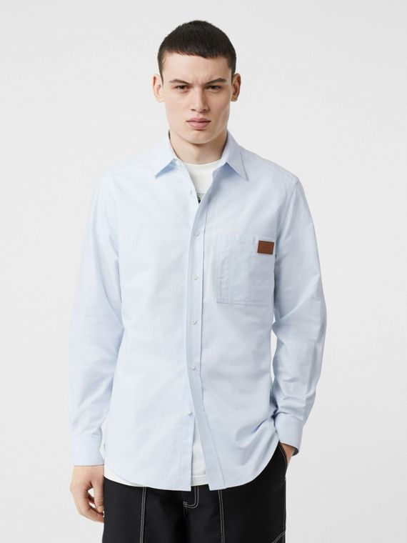 Logo Detail Cotton Oxford Shirt in Sky Blue