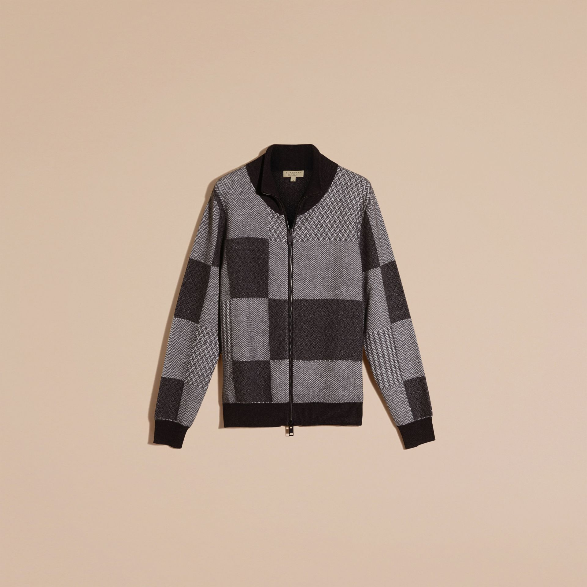 Camaïeu de gris sombres Veste à col entonnoir en maille de cachemire et coton - photo de la galerie 4