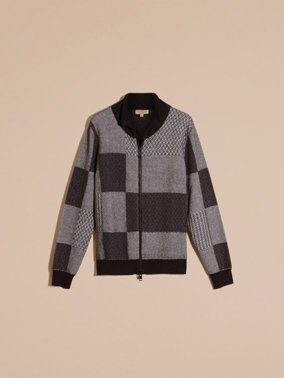 Dark grey melange Funnel Neck Cashmere Cotton Knitted Jacket - cell image 3