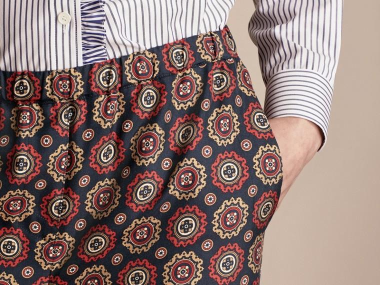 Navy Pyjama Print Cropped Silk Twill Pyjama-style Trousers - cell image 4