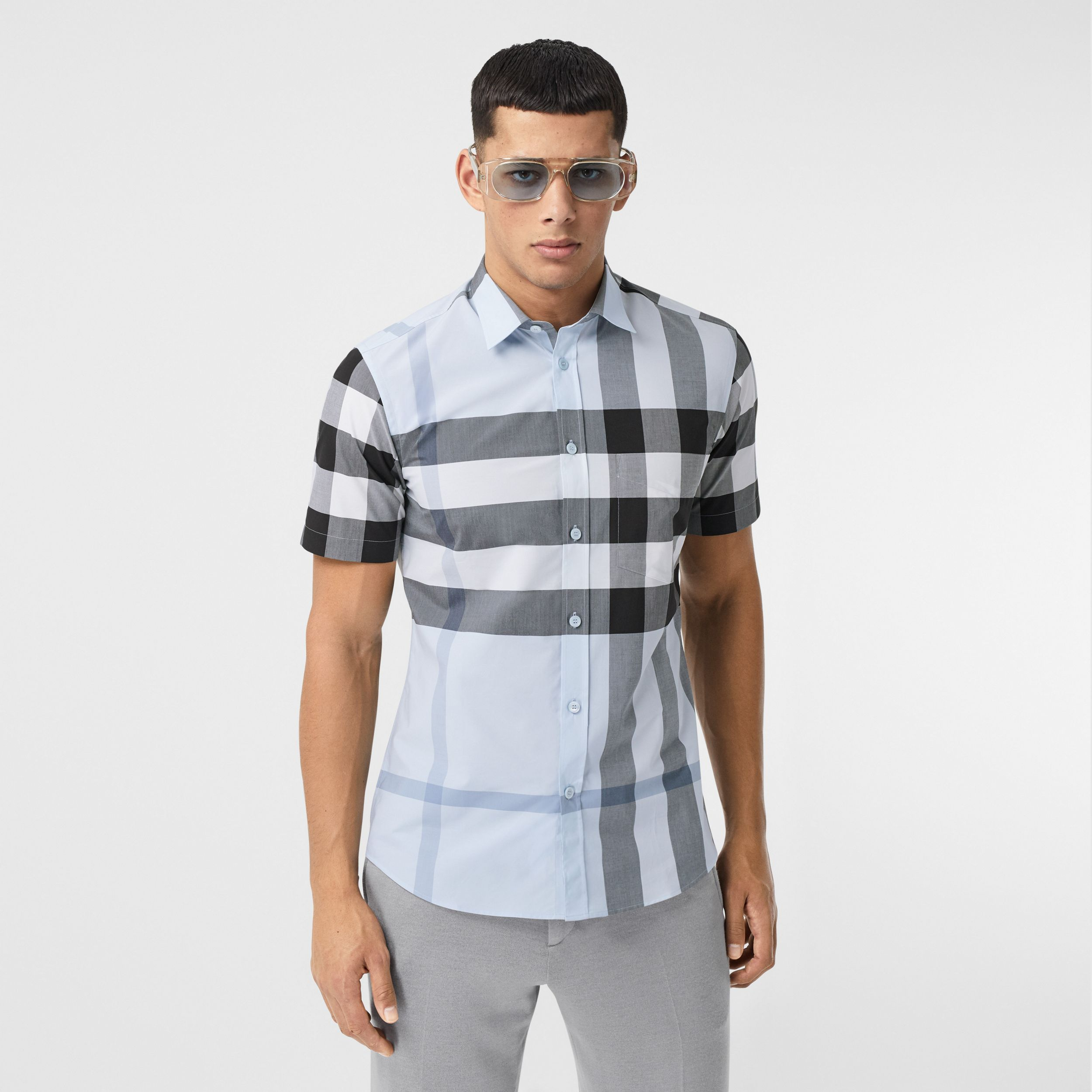 Short-sleeve Check Stretch Cotton Poplin Shirt in Chalk Blue - Men | Burberry - 1