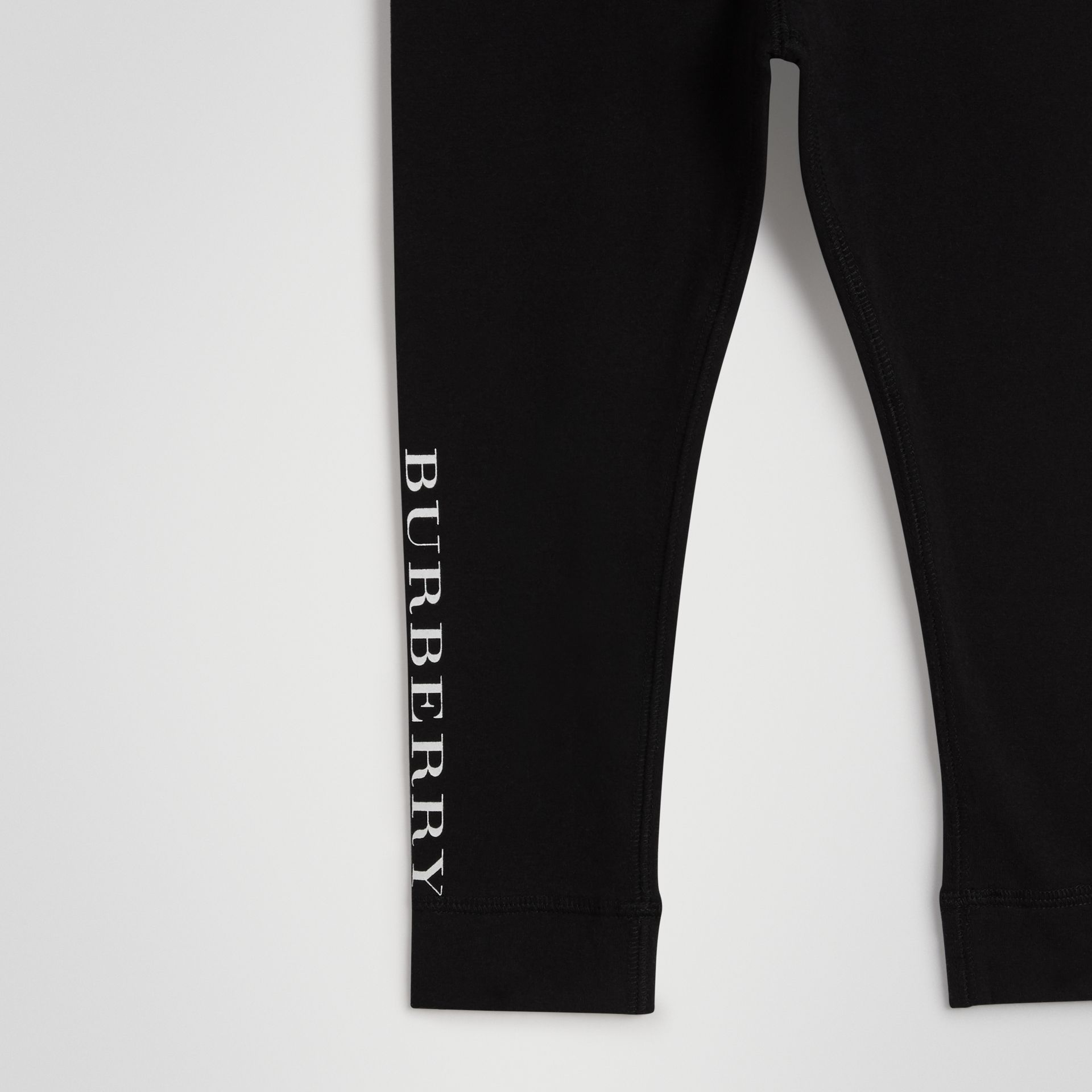 Logo Detail Stretch Cotton Leggings in Black | Burberry - gallery image 4