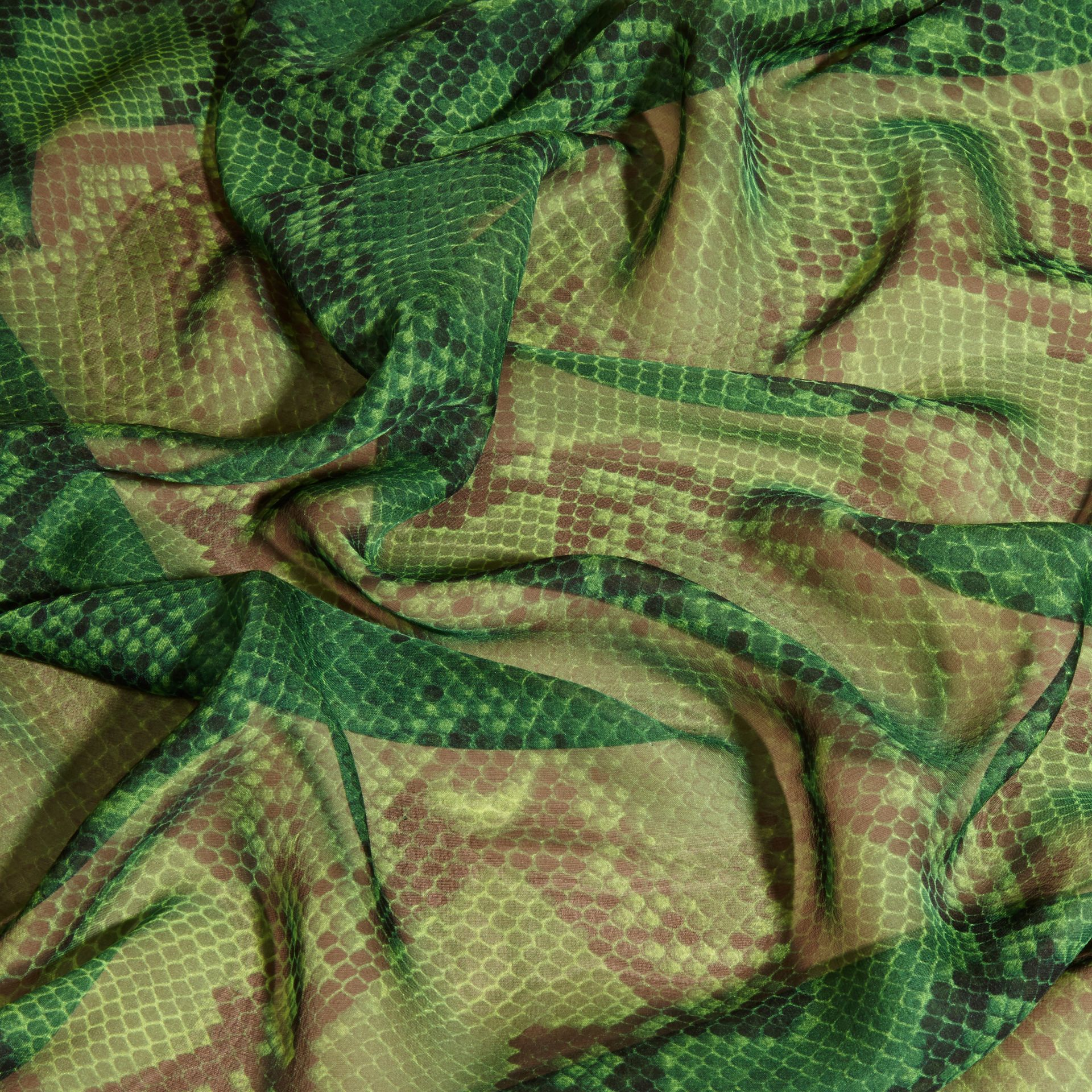 Bright green Python Print Silk Scarf Bright Green - gallery image 2