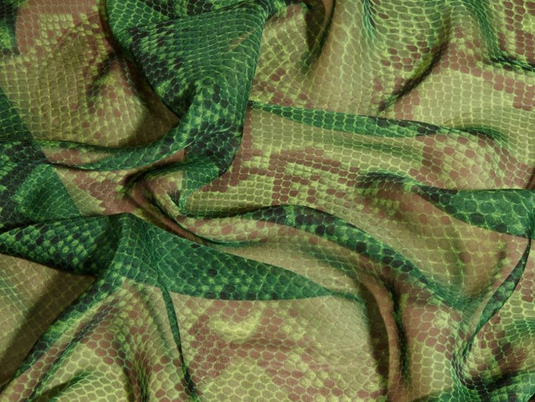 Bright green Python Print Silk Scarf Bright Green - cell image 1